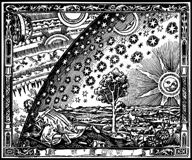 9134907-Copia-de-vectores-de-un-grabado-medieval-que-representa-llegar-al-borde-del-mundo-Foto-de-archivo