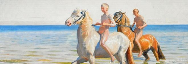 Michael Ancher-Drenge ride Heste til Vands. 1900